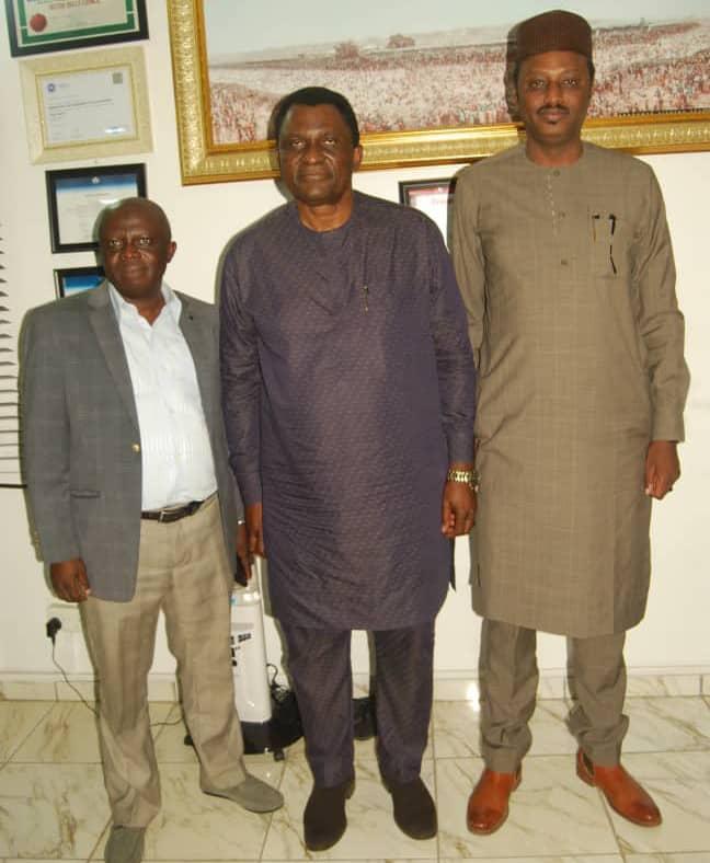 From Left to right: Alhaji Badaki, First Deputy President, FTAN; Chief Nkereuwem Onung, FTAN President and Alhaji Nura S Kankiwa, DG NIHOTOUR during the courtesy visit on the later in Abuja